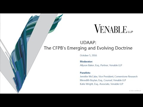 UDAAP: The CFPB's Emerging and Evolving Doctrine
