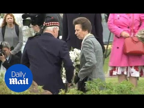 Princess Anne lays wreath for victims of rail disaster - Daily Mail