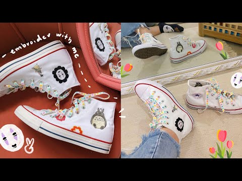 diy Studio Ghibli embroidered Converse ☁️🌼 embroider with me
