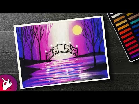 landscape painting scenery drawing for beginners with soft pastels