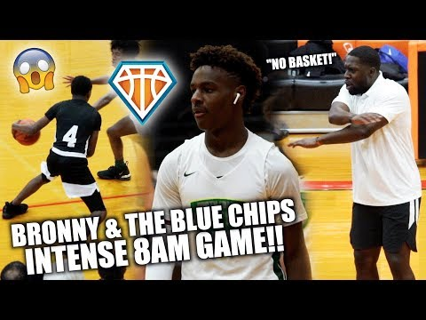 BRONNY JAMES IS BACK!! | MOST INTENSE 8AM GAME EVER?! Blue Chips vs TSF Mack Highlights