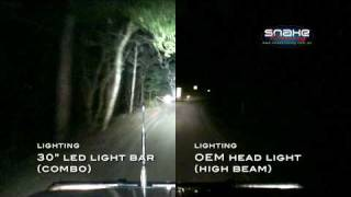 "Rigid Industries 30"" LED Light Bar + OEM Head Light - side by side comparison"
