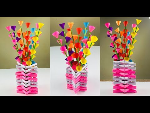 Flower Vase Decoration Ideas | Paper Flowers | Paper Flower Making | Paper Craft