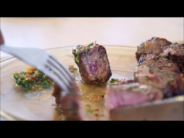 Chimichurri Sauce with Steak kebabs on the BBQ (Churrasco) by Theo Michaels, Masterchef