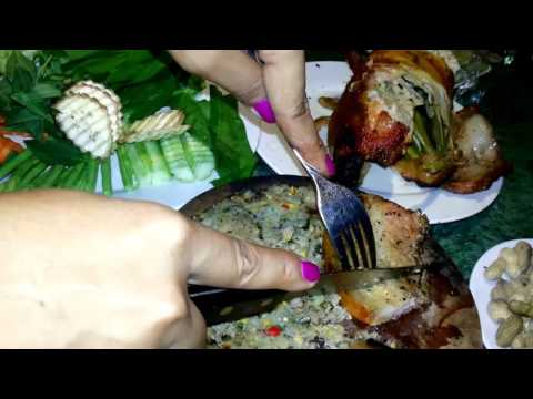 Cambodian street food, Drunk Chicken with Brohok, Roasted Meat, and Noodle