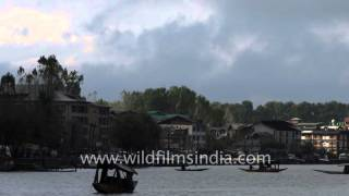 Over-cast Dal Lake in time lapse, with shikara traffic on water and car traffic on Boulevard