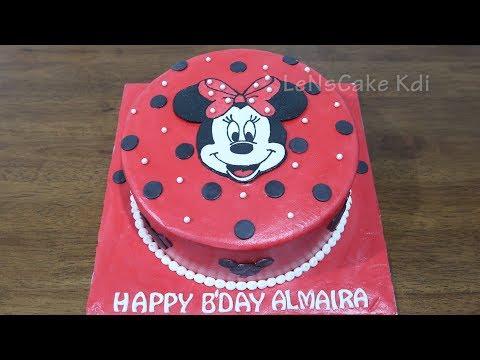 Cara Membuat Kue Ulang Tahun Karakter Minnie Mouse by LeNsCake Kdi