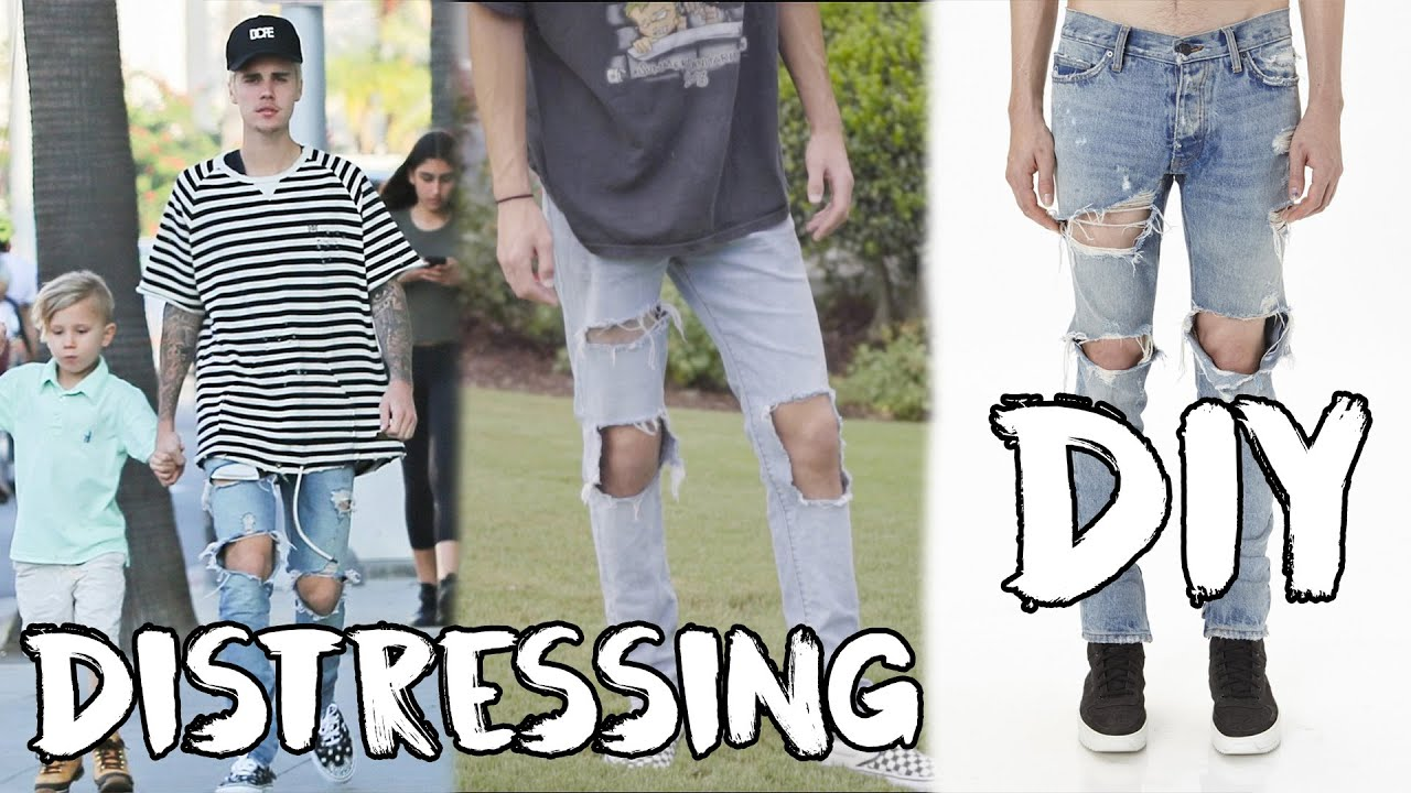 Fear of god indigo jeans diy how to distress denim youtube - Hm herren jeans ...