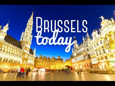 BRUSSELS Belgium City Tour Travel  - Walking in Town [HD]