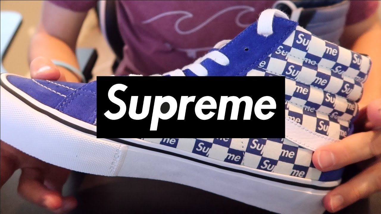 621304deed Supreme x Vans Sk8 Hi Blue - Unboxing   On Foot - YouTube