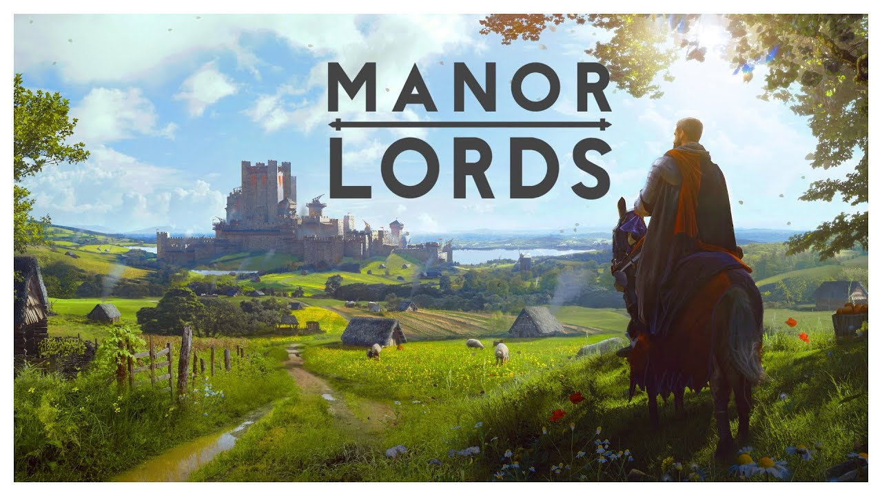 Stage with a knight and a castle in the background with the game title, Manor Lords
