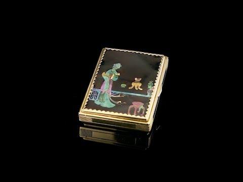 ANTIQUE 20thC CARTIER ART DECO 18k GOLD & LACQUE BURGAUTE VANITY CASE c 1920