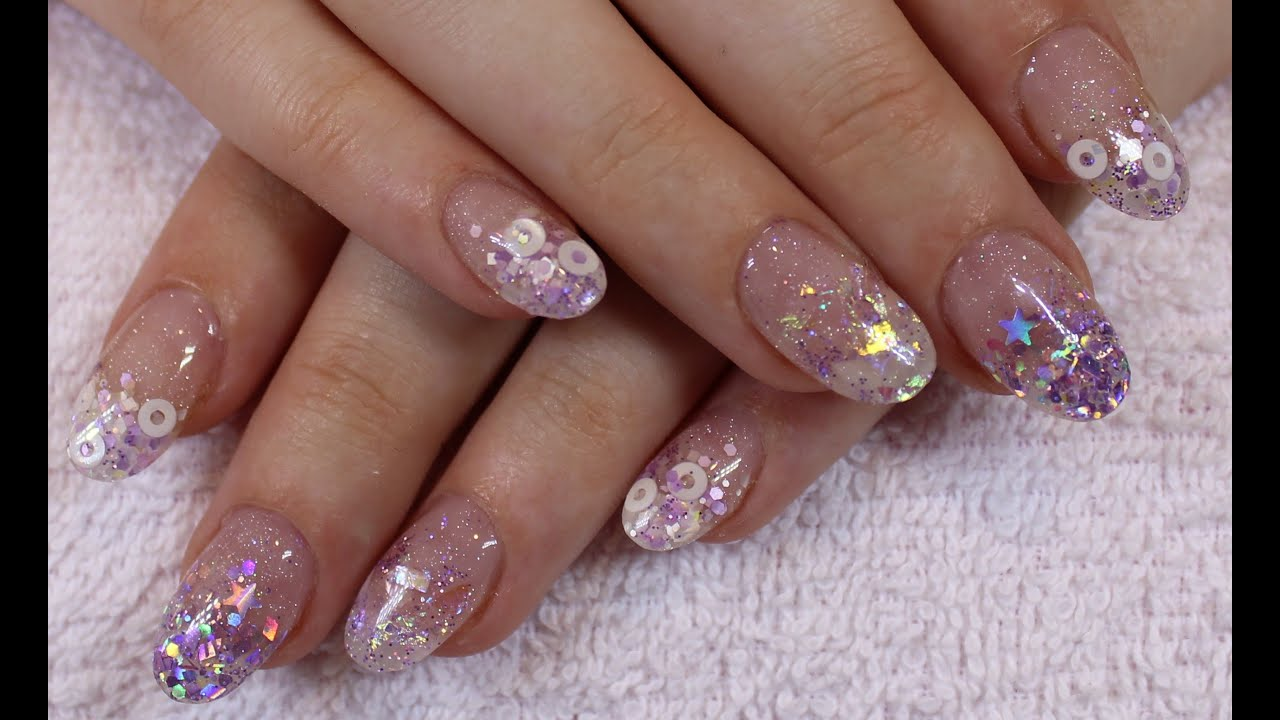 Cute Lilac Glitter Acrylic Nails