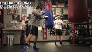 Hitting the Heavy Bag With Fly Superlace Boxing Gloves