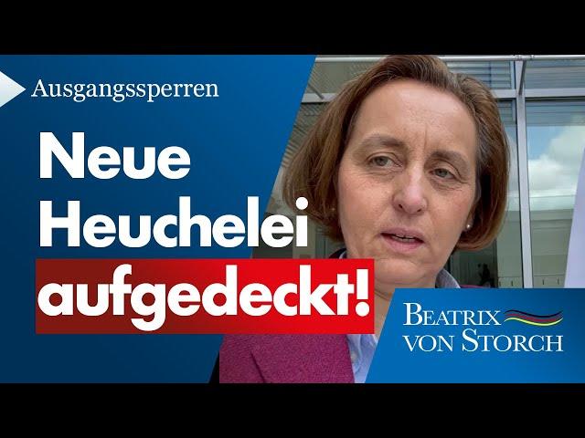 Beatrix von Storch (AfD) - Ausgangssperre soll nicht für Politiker gelten!