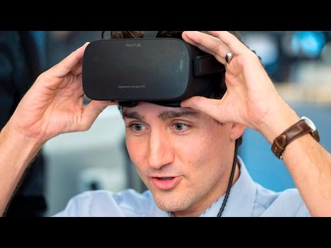 Prime Minister Justin Trudeau tries out virtual reality at Ubisoft Montreal