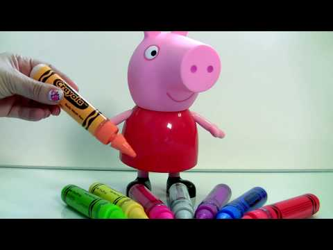 Learn COLORS Crayola Bathtub Crayons Finger Bath Paint Gel Pens Peppa Pig Bathtime Fun In