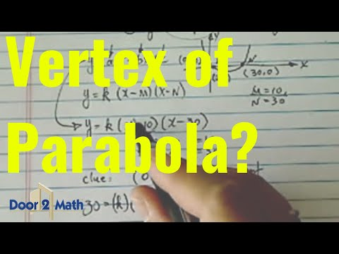 Equation Vertex Of Parabola Given The Two X Intercepts And The Y