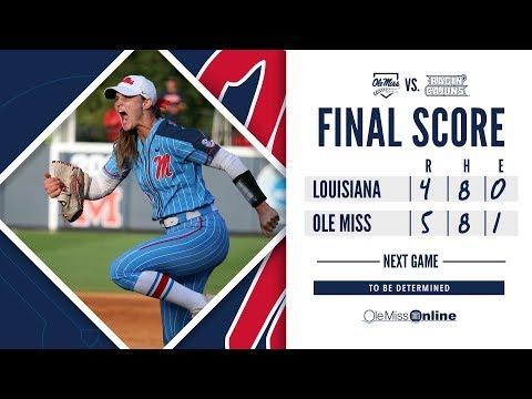 HIGHLIGHTS   Ole Miss Softball defeats Louisiana 5 - 4 (Game 7) 5/19/19 #FinsUp #WAOM