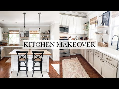 complete-kitchen-makeover---painted-cabinets,-diy-kitchen-island,-floor-inlay,-floating-shelves