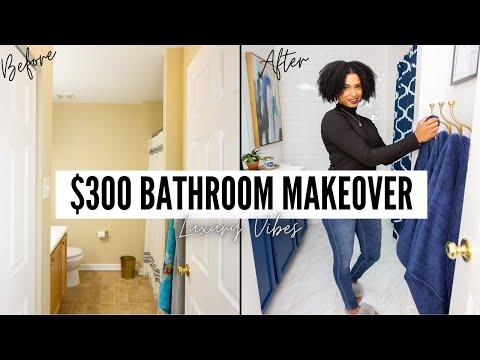 DIY BATHROOM MAKEOVER UNDER $300 l EXTREME DIY SMALL BATHROOM MAKEOVER l DIY LUXURY BATHROOM REMODEL