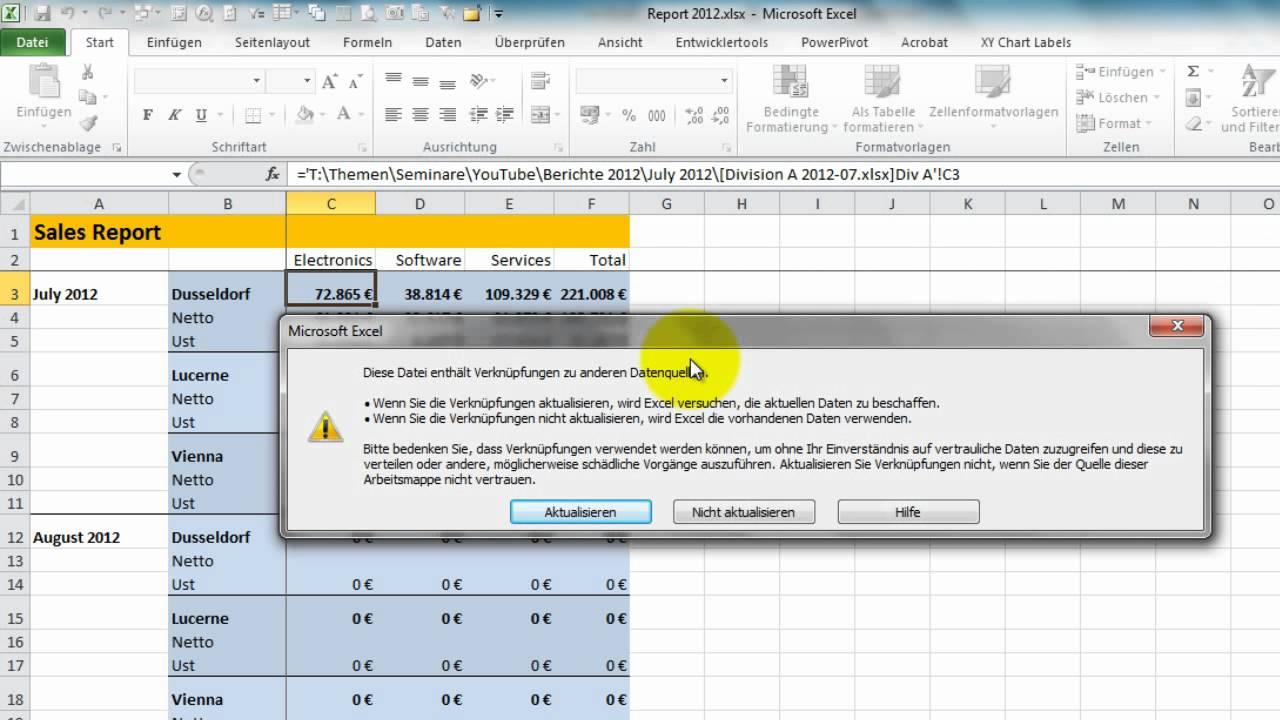 Excel - Verknüpfungen (1) zwischen Dateien - Verknüpfungen ...