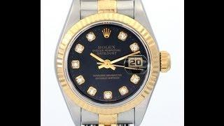 Ladies Rolex DateJust Factory Diamond Dial 18k/SS Watch Date Just 69173