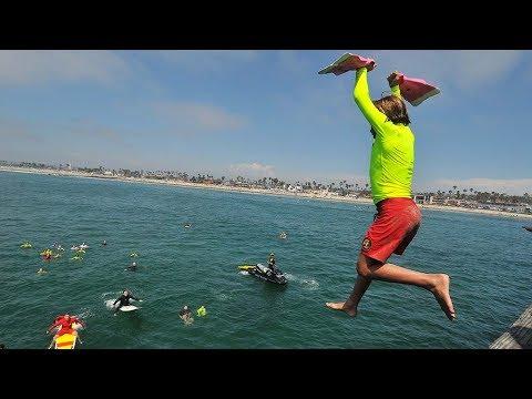 Junior Lifeguards fly off OB Pier