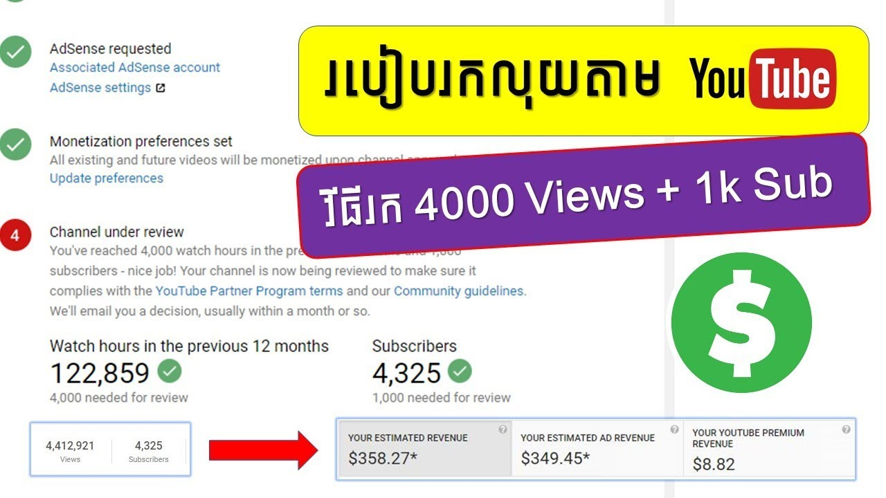 របៀបរកលុយតាម Youtube | វីធីរក 4000 Views + 1000 Subscribers | How make money on Youtube