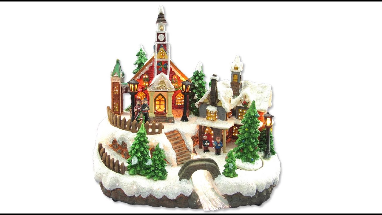 Illuminated Ornament - Resin Church & House Scene With Animated Tree - The  Christmas Warehouse - YouTube