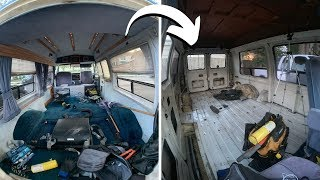DESTROYING AN 80s VAN TO BUILD A MODERN CAMPER (Time Lapse Build Pt. 1)