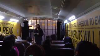 "The Mattie C. Stewart Foundation ""Choice Bus"" - half classroom, half replica prison cell - parked at"