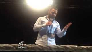 Santino Marella makes a career-related announcement at a WWE Live Event