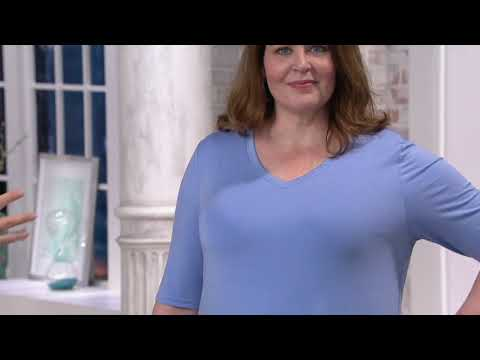 e0a6a5dc8c2 H by Halston Essentials Elbow-Sleeve V-Neck Tunic w/ Wide Side Slits on QVC