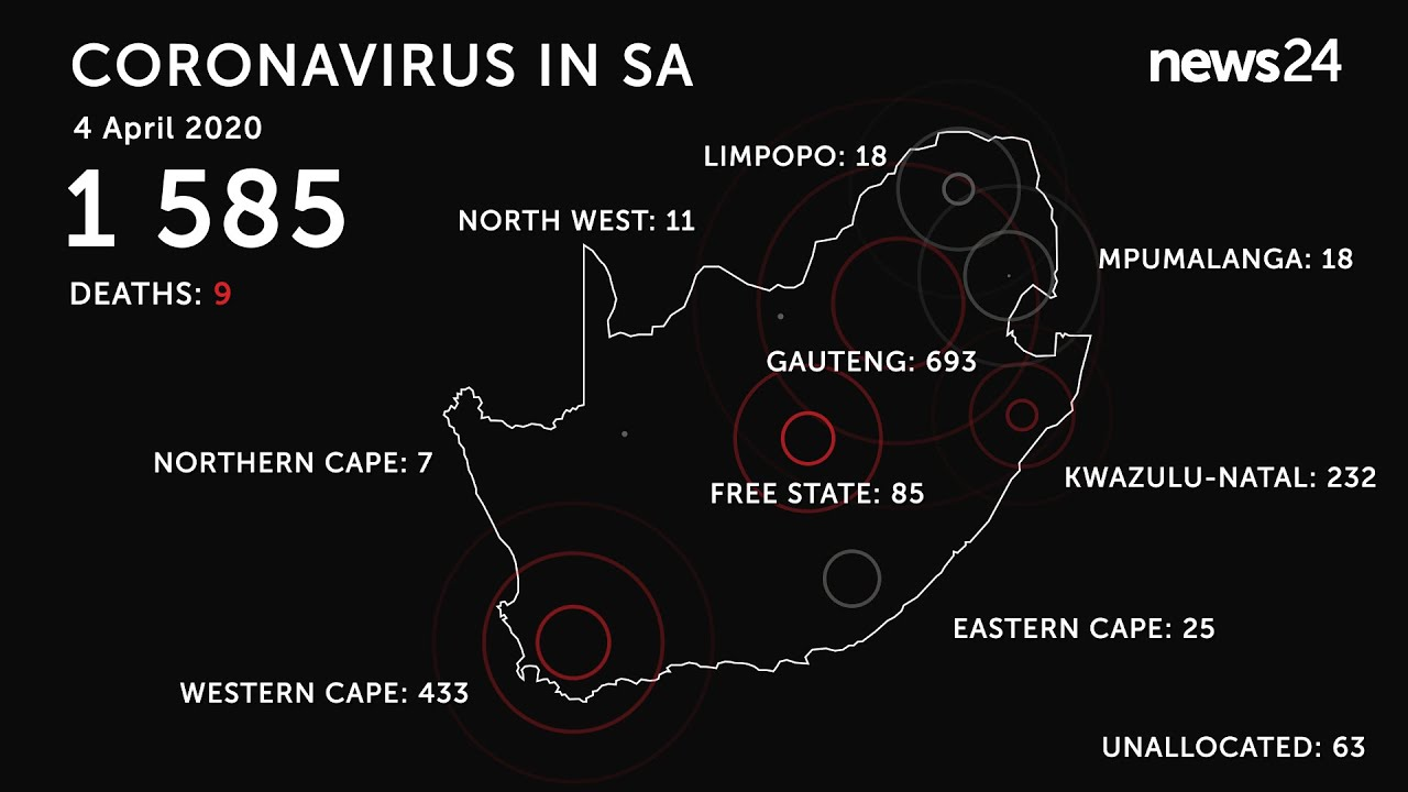WATCH | 4 April: 9 confirmed deaths, 1 585 positive cases of coronavirus in South Africa - News24