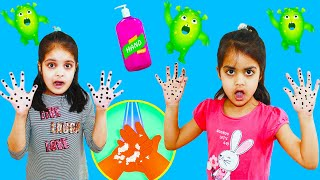 Ashu Cutie and mom pretend Cleaning Hand with Soap