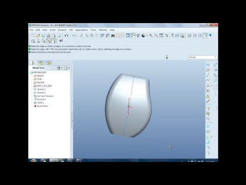 Pro e (Pro Engineer) Variable Section Sweep( How to make a mouse) Tutorial