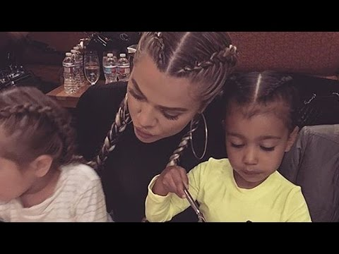 Khloe Kardashian, Penelope Disick and North West Rock Matching Pigtail Braids on Vacation - Pics!