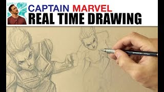 Real Time Captain Marvel Drawing