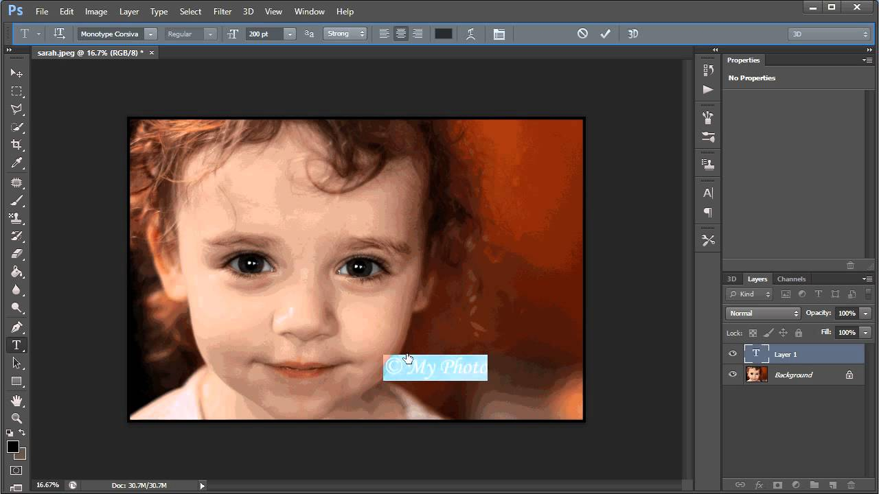 how to add watermark in photoshop