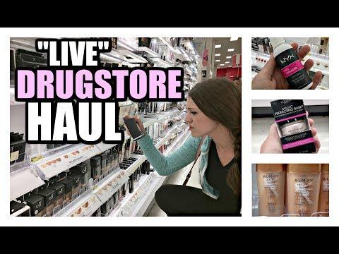 LET'S SHOP FOR DRUGSTORE MAKEUP   Live Haul 2017