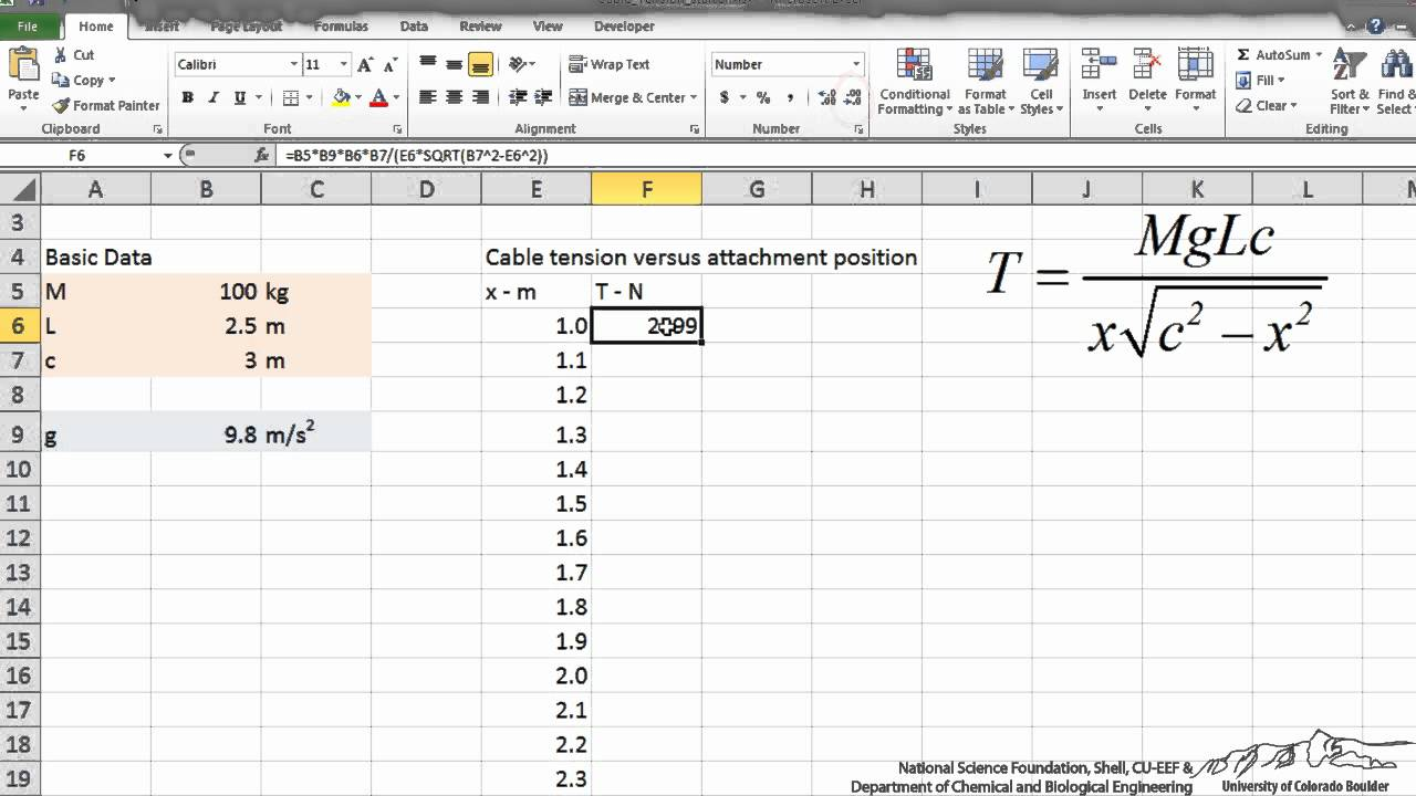 Entering an Equation into Excel - YouTube