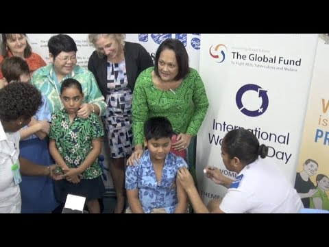 Fijian Minister for Health officiates at the launching of the Meningococcal Vaccines.