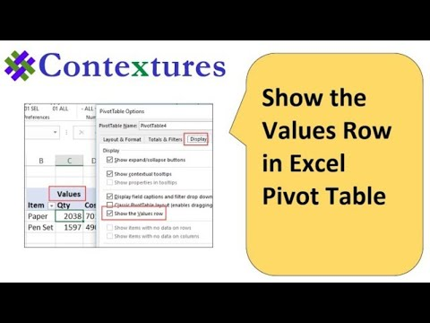 Show Values Row In Excel Pivot Table Headings