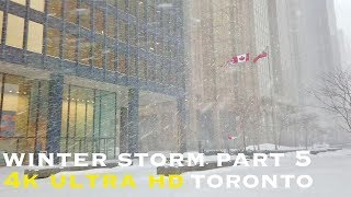 Winter storm downtown Toronto part 5 (walking tour 4k)