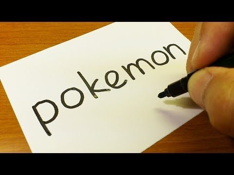 How to turn words POKEMON into a Cartoon for kids -  Drawing doodle of Pokémon art on paper
