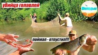 БРАКОНЬЕРСКАЯ СНАСТЬ ПОЙМАЛ ОТПУСТИЛ Ловля ГОЛАВЛЕЙ Рыбалка на НЕВОД
