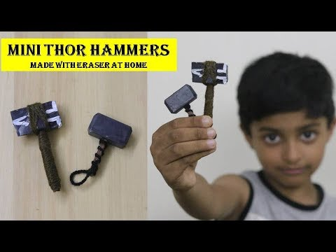 ERASER to THOR HAMMERS|| | How to make Mini Thor Hammers with Erasers (Mjolnir and Stormbreaker)