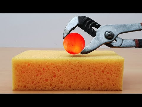 EXPERIMENT Glowing 1000 degree METAL BALL vs SPONGE