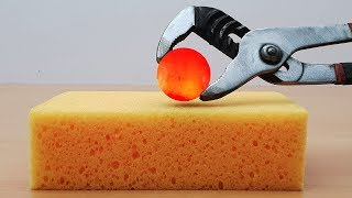 EXPERIMENT Glowing 1000 degree METAL BALL vs SPONGE